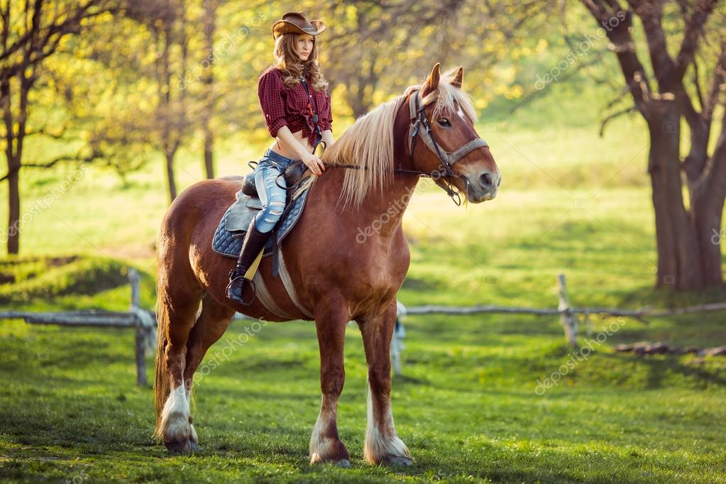 Beautiful Girl Riding Horse On Summer Field  Stock Photo  Dimabl 105440558-8082