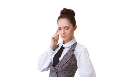 Confident thinking Businesswoman Isolated on White Background