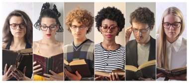 People reading a book