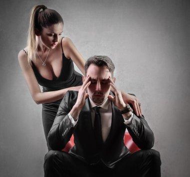 Stressed man with headache