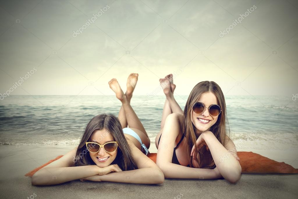 Two girls at the seaside