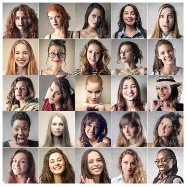 Twentyfive portraits of self-confident women stock vector