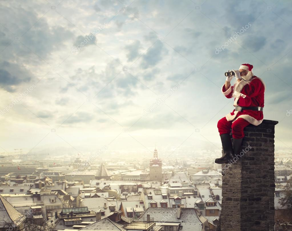 Santa Claus looking in the distance