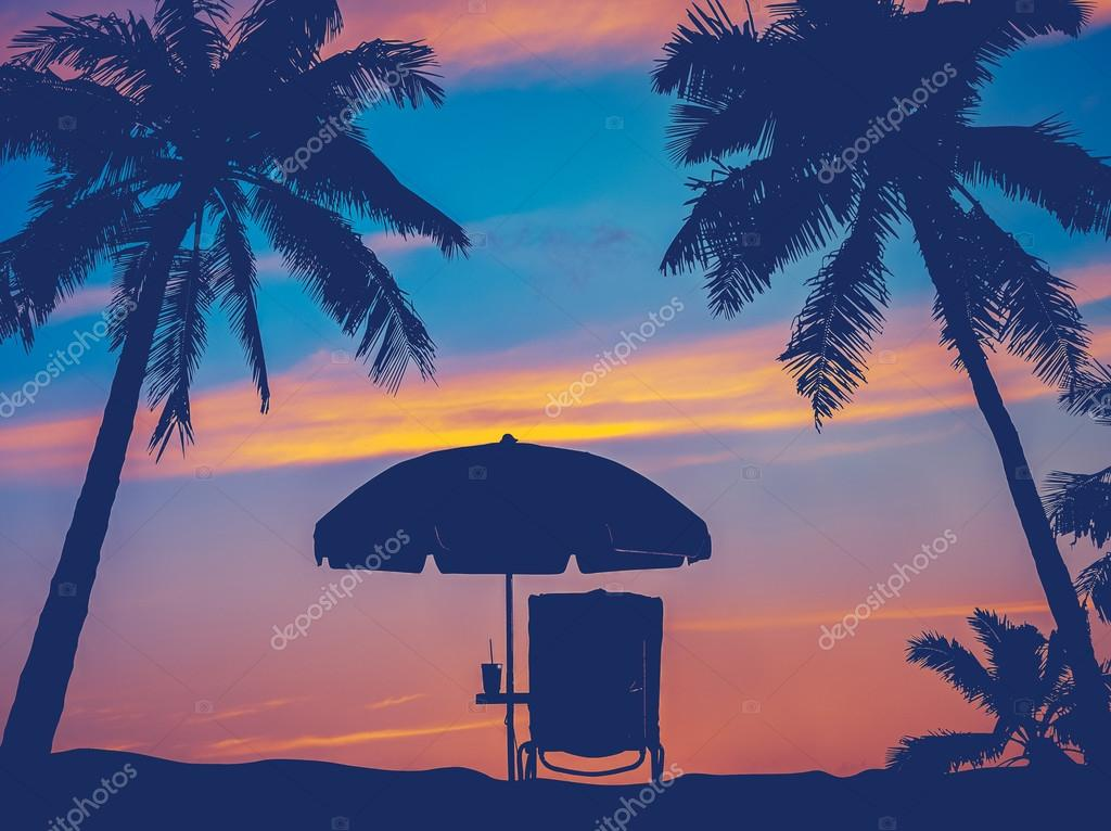Retro Filter Vintage Beach Umbrella And Chair With Palm Trees In Hawaii Photo By Mrdoomits