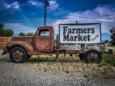 Vintage Truck Farmers Market Sign