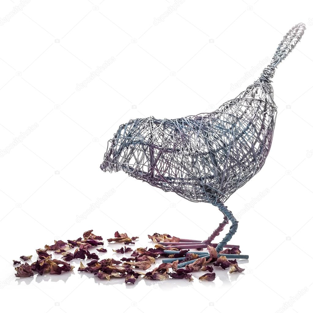 Wire Bird with Flower Petals on a white background — Stock Photo ...
