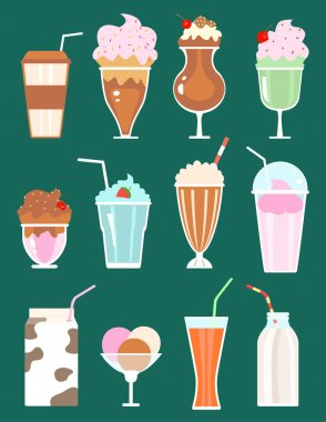 set of milkshakes with berries, milk beverages, ice cream. vecto
