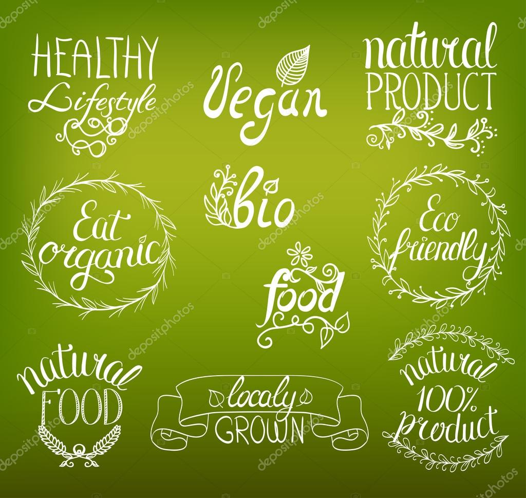 Organic, vegan, natural food hand written sign background with r