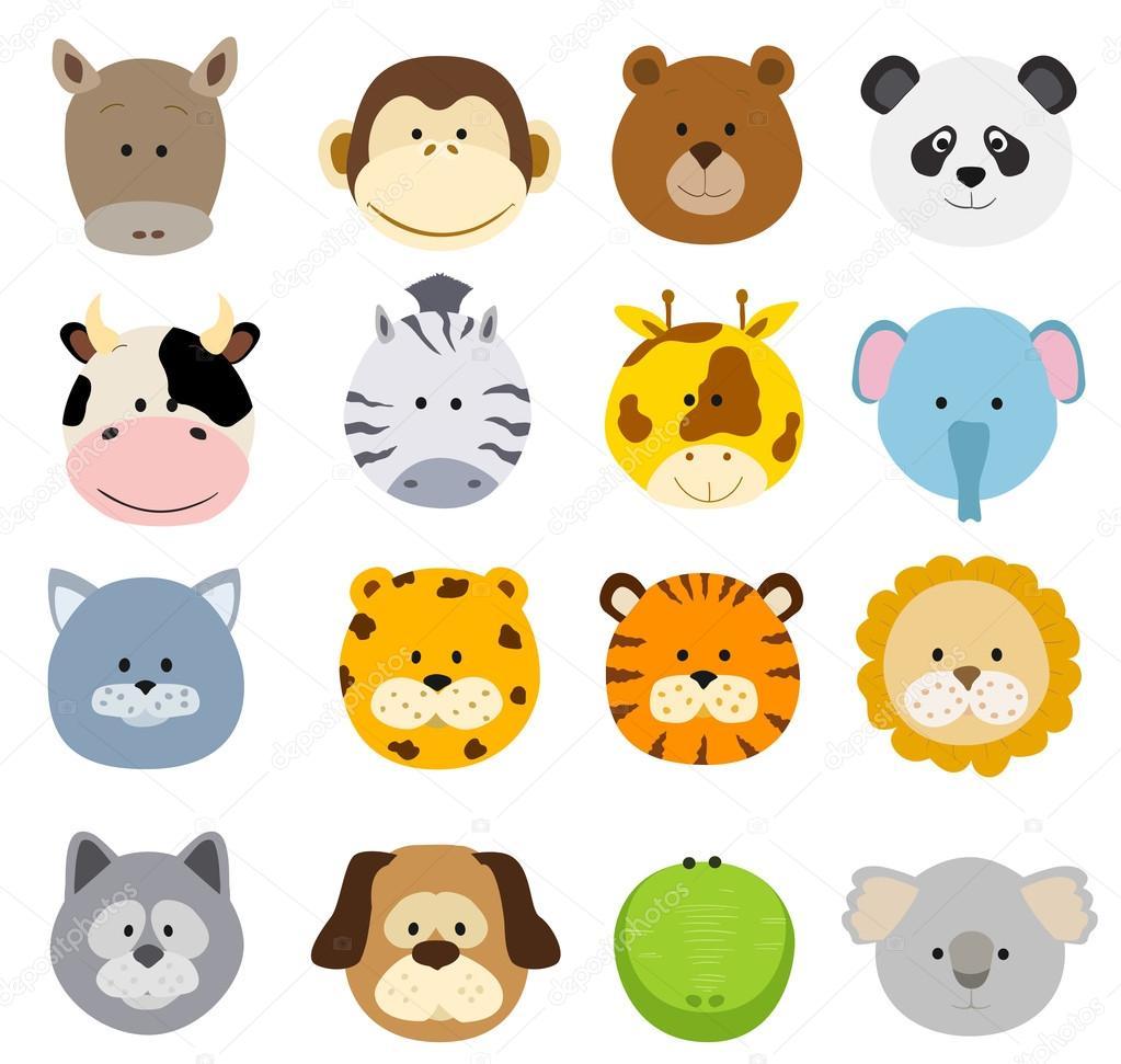 Conjunto De Caras De Animais Selva Dos Desenhos Animados