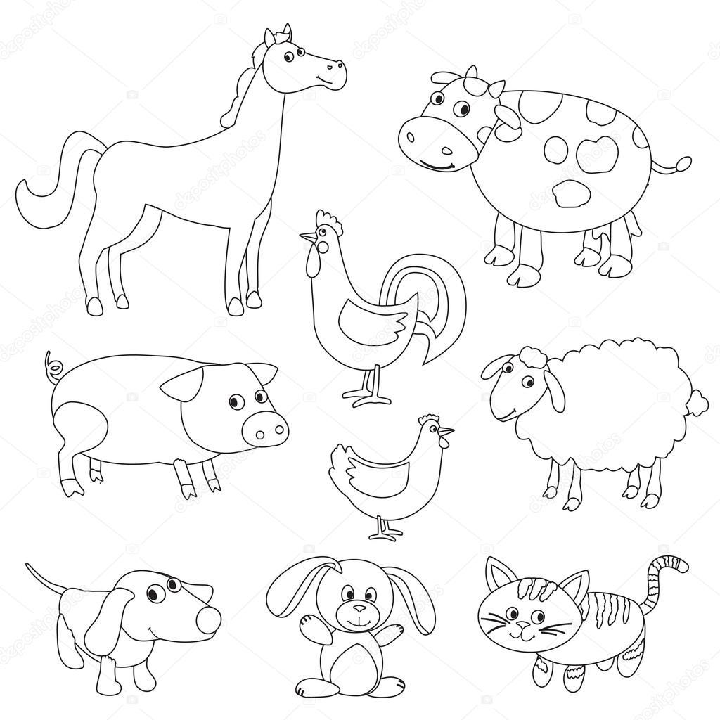 Animales de granja de dibujos animados lindo y aves para colorear ...