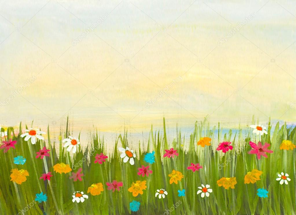 watercolor hand painted landscape with green grass and flowers