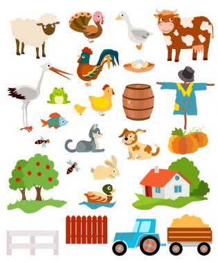 set of farming live animals, birds, objects, farmhouse, tress, s