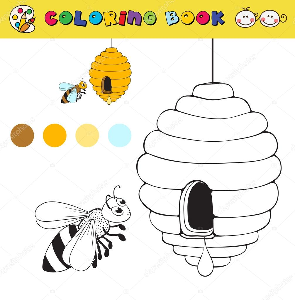 coloring book page template with beehive and bee, color samples ...