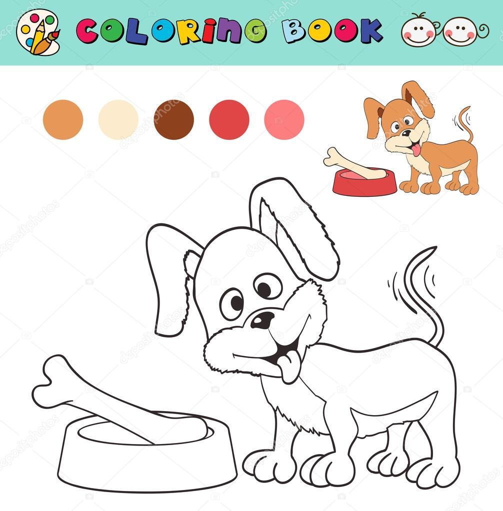 Kleurplaat Boek Paginasjabloon Met Hond En Bot Monsters Van De