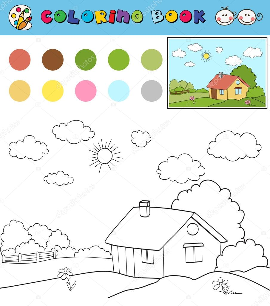 Coloring Book Page Template With House On Countryside Landscape