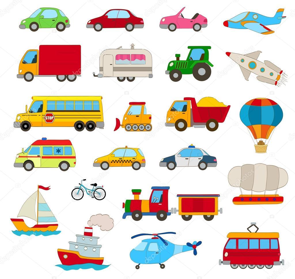 conjunto de desenho animado carros veículos outros meios de