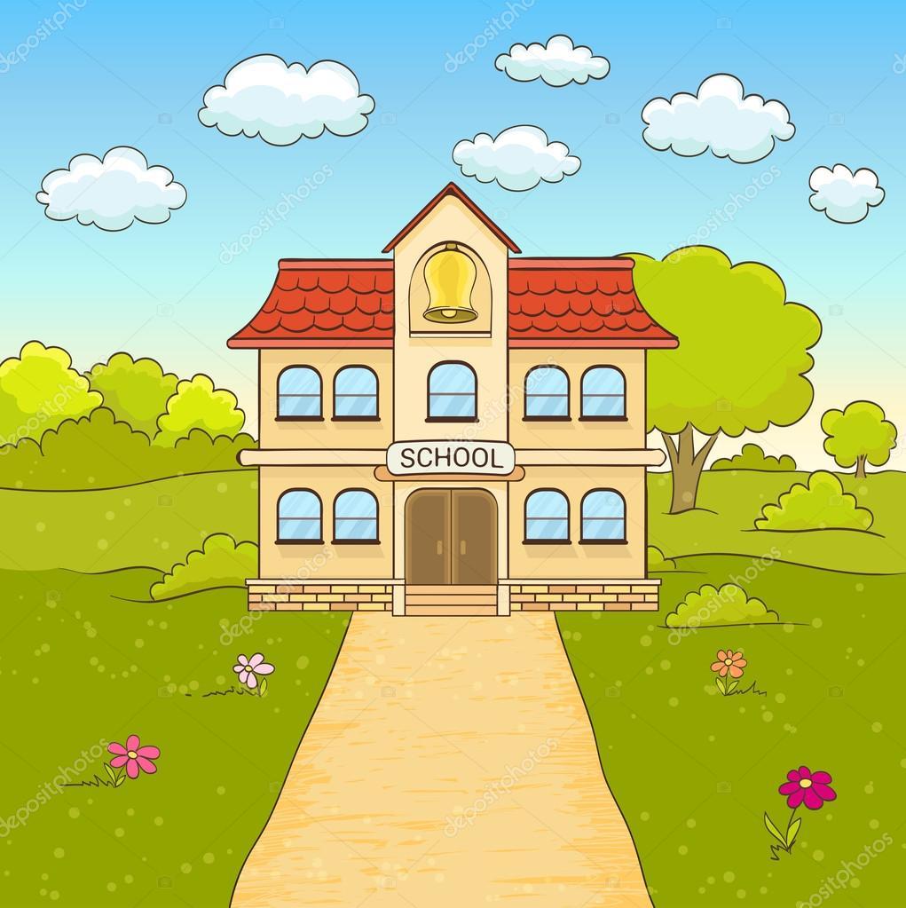 dibujos animados de dibujo de escuela primaria de fachada clip art school house with children in front clip art school house drawings