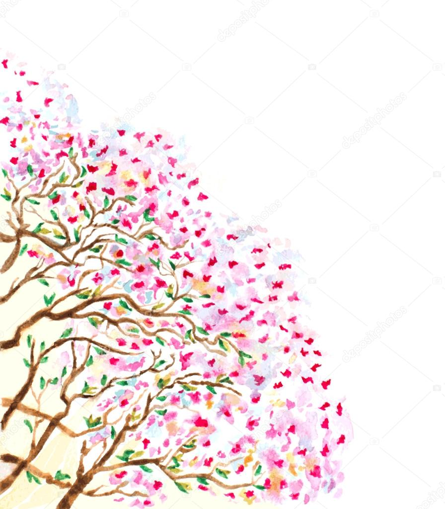 abstract watercolor branches of blossoming tree. vector illustra