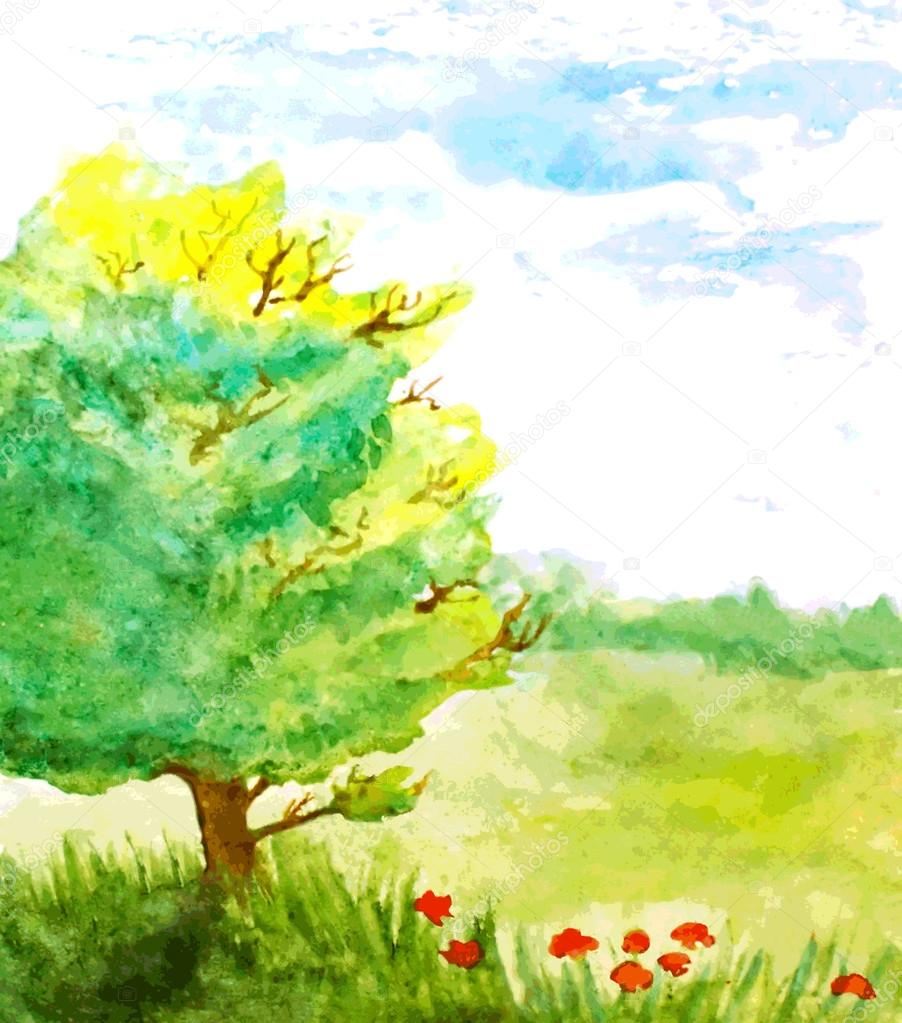 watercolor landscape with tree, flowers and sky. vector illustra