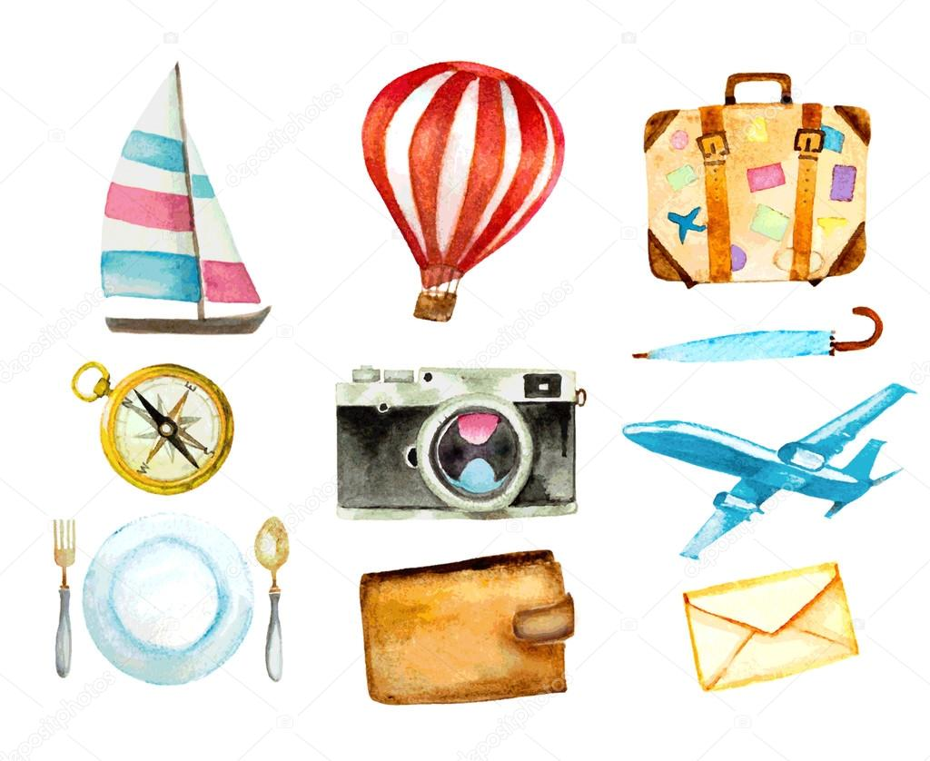 set of tourism icons. watercolor hand drawn vector illustration.