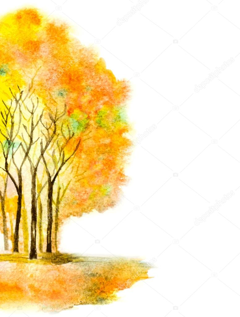 autumn vector illustration with watercolor trees