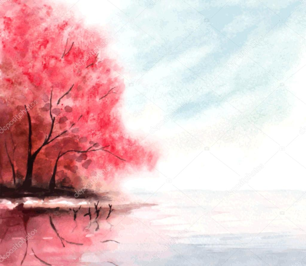 watercolor autumn background with red trees and lake water. vect