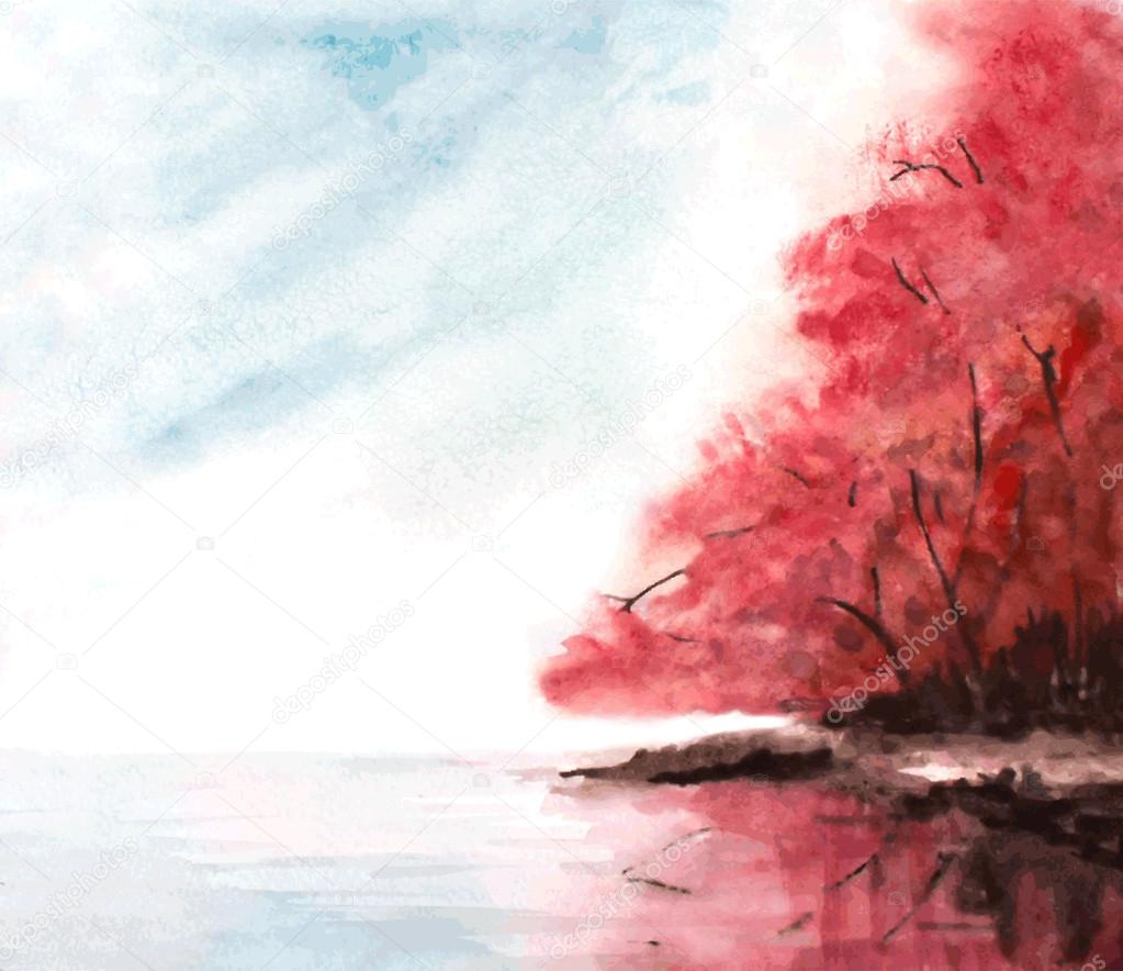 watercolor autumn background with red trees, sky and lake. vecto