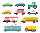 Photo set of cartoon cute cars and special vehicles. vector illustrati