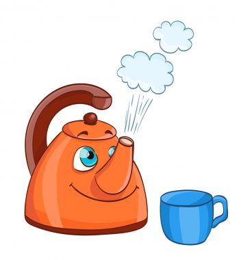 cartoon kettle with boiling water with eyes and a cup
