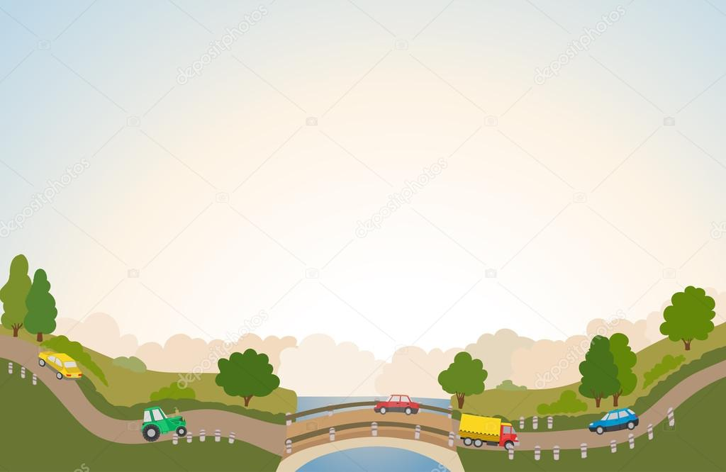 rural landscape with road and cars, river and bridge, trees and