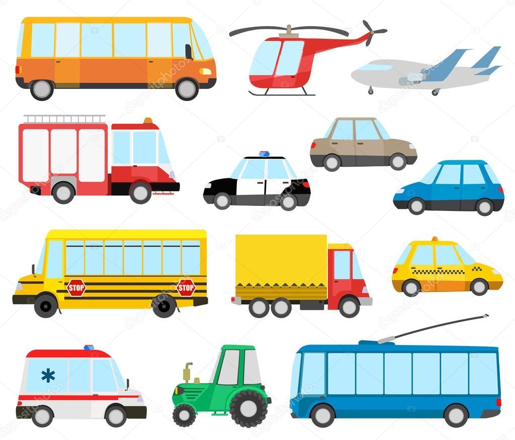 conjunto de transporte dos desenhos animados ônibus escolar