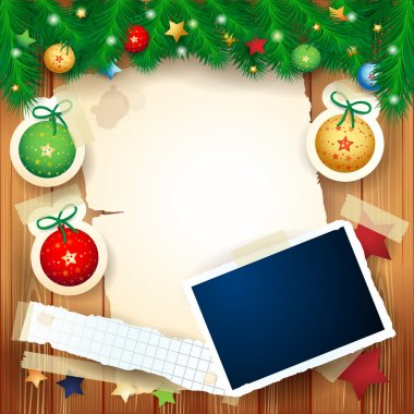 Christmas background with photo frame