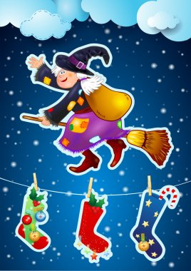 Witch flying on broomstick, Epiphany, vector