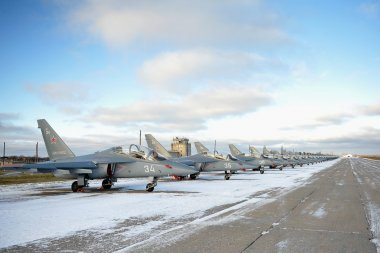 VORONEZH, RUSSIA - DECEMBER 12: combat Training Yak-130 aircraft perform training flights at the airport December, 12, 2013 in Voronezh, Russia