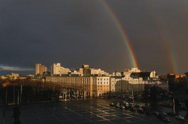 rainbow over the city of Voronezh