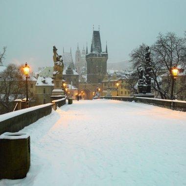 Charles bridge in winter, Prague