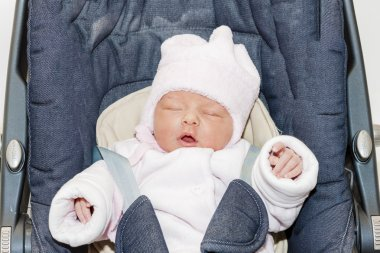 portrait of newborn baby girl in a car seat