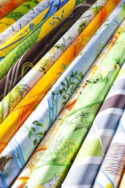 fabrics, market in Nyons, Rhone-Alpes, France