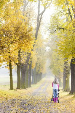 Woman with a pram on walk