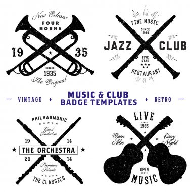 Vector Retro Music Logo and Badge Set