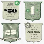Vektor Vintage pénzt pajzs készlet