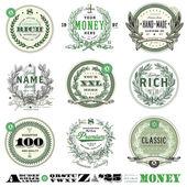 Fényképek Vektor pénzt jelvény készlet