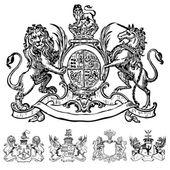 Vektor viktoriánus oroszlán címerek és címer