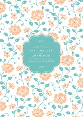 wedding invitation with flowers pattern
