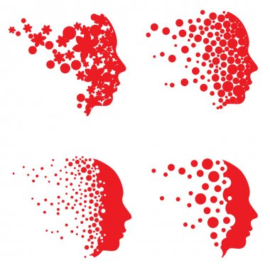 Vector face and head graphics with dot patterns.