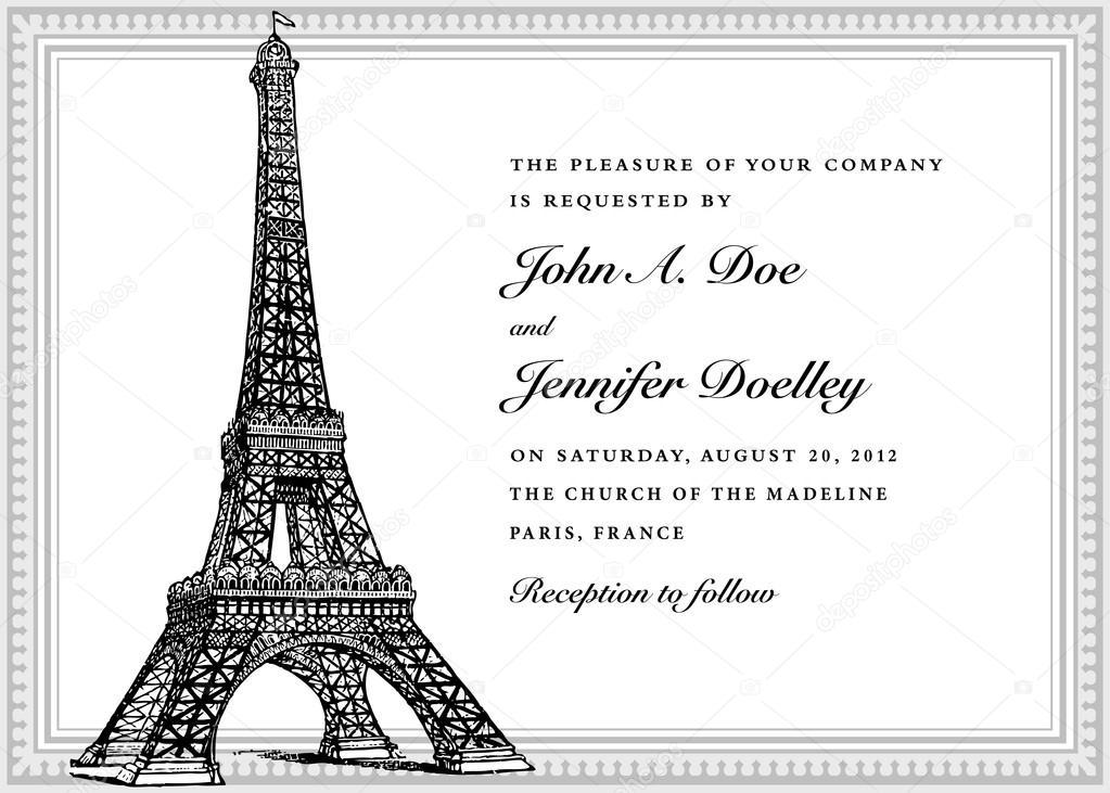Paris invitation template | Paris theme wedding invitation ...