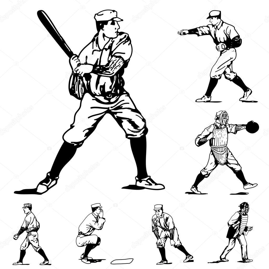 Vintage Baseball Icons Players Sketch Vector Illustration By Createfirst