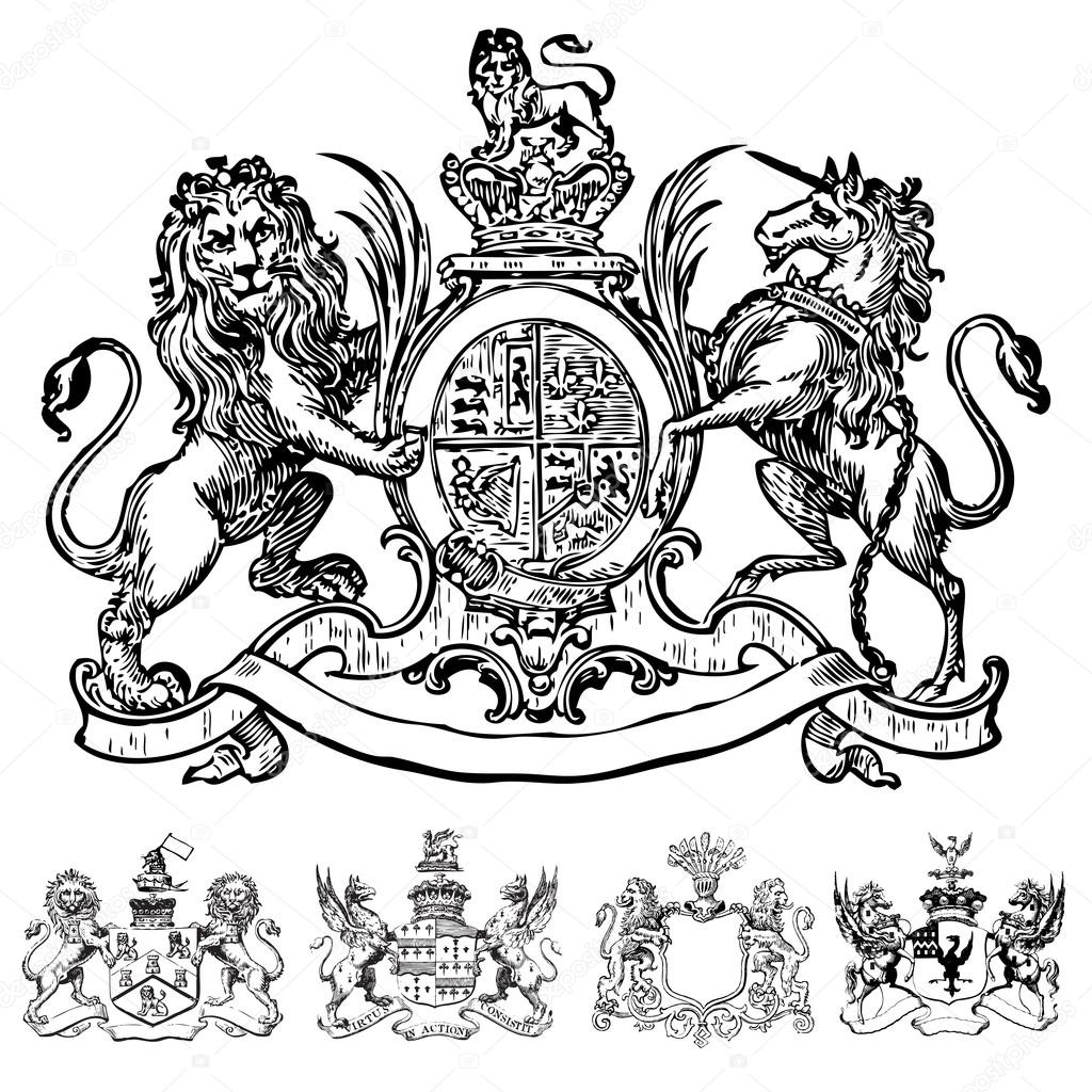 Vector Victorian Lion Crests and Coat of Arms — Stock ...