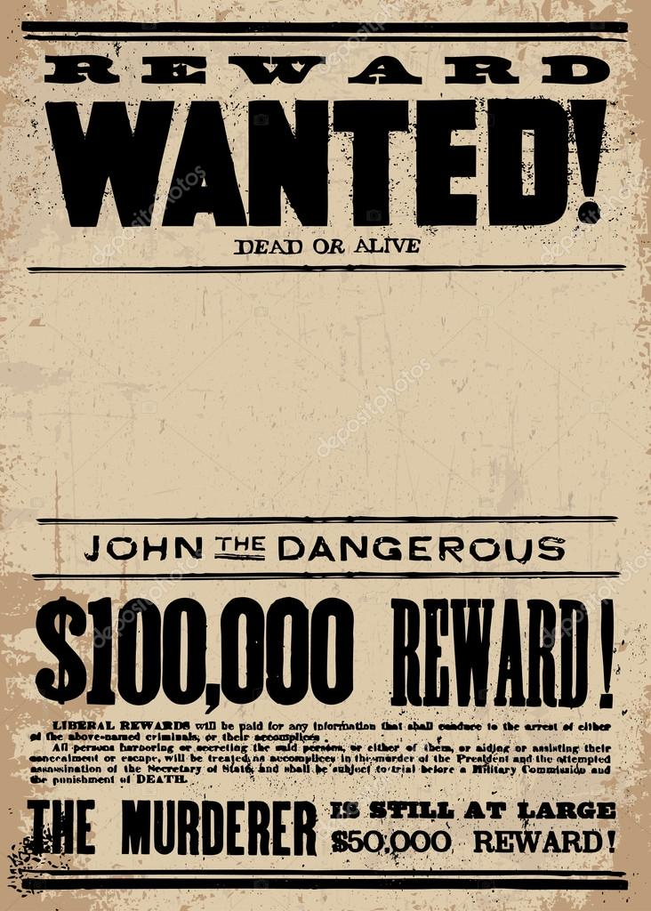 vector vintage wanted poster and reward poster stock vector