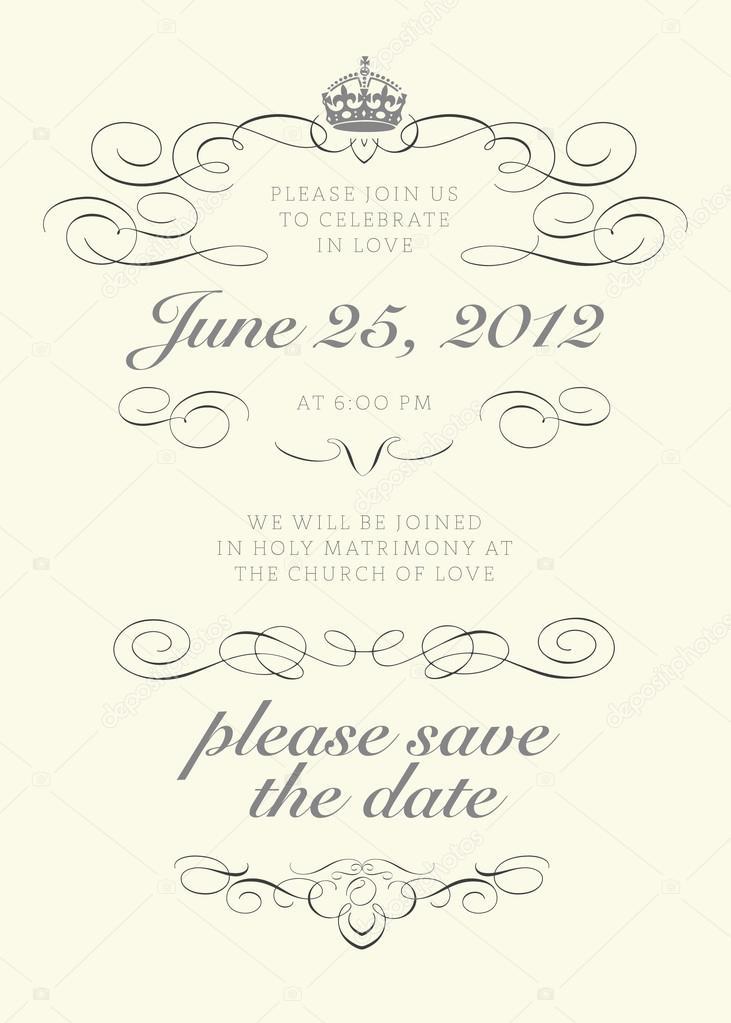 Königlichen Stil Hochzeitseinladung — Stockvektor © createfirst ...